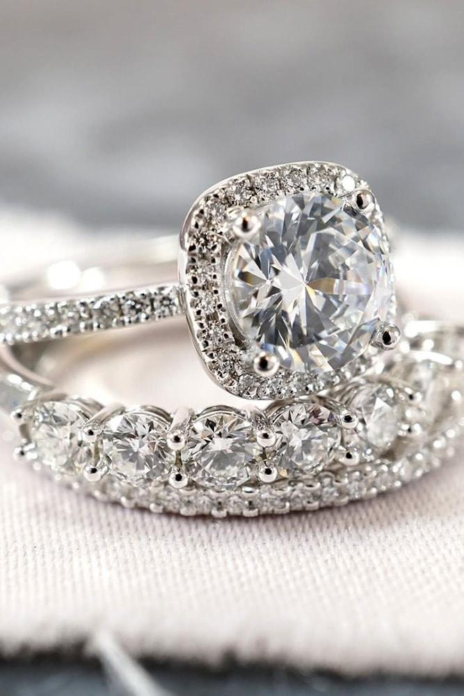 white gold engagement rings sets round cut diamond halo pave band with diamonds classic