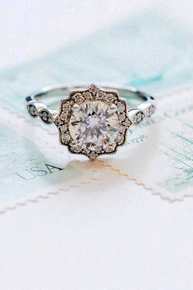 white gold engagement rings vintage ring round cut diamond halo in vintage style pave band