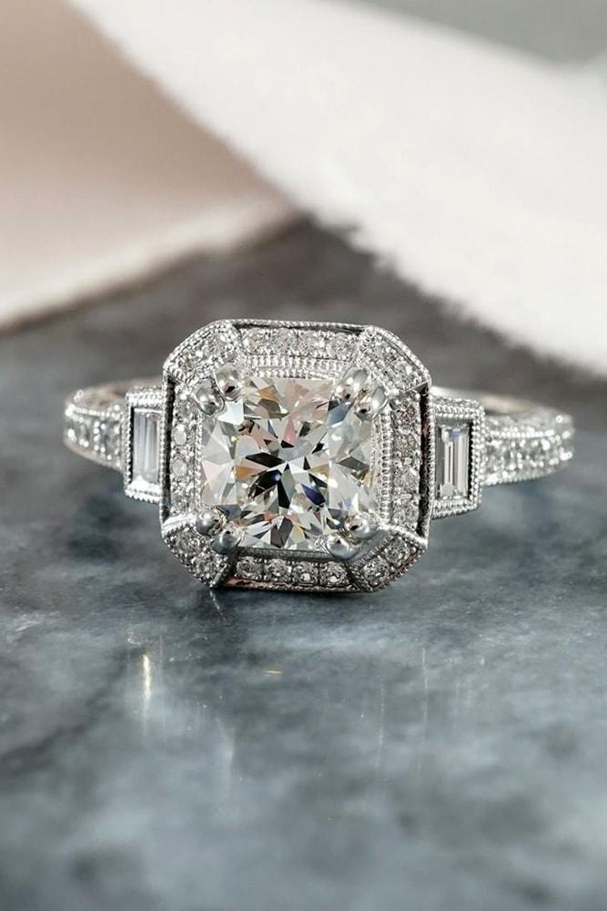 white gold engagement rings vintage ring round cut diamond halo in vintage style round cut diamonds halo emerald cut dimonds on the sides pave band
