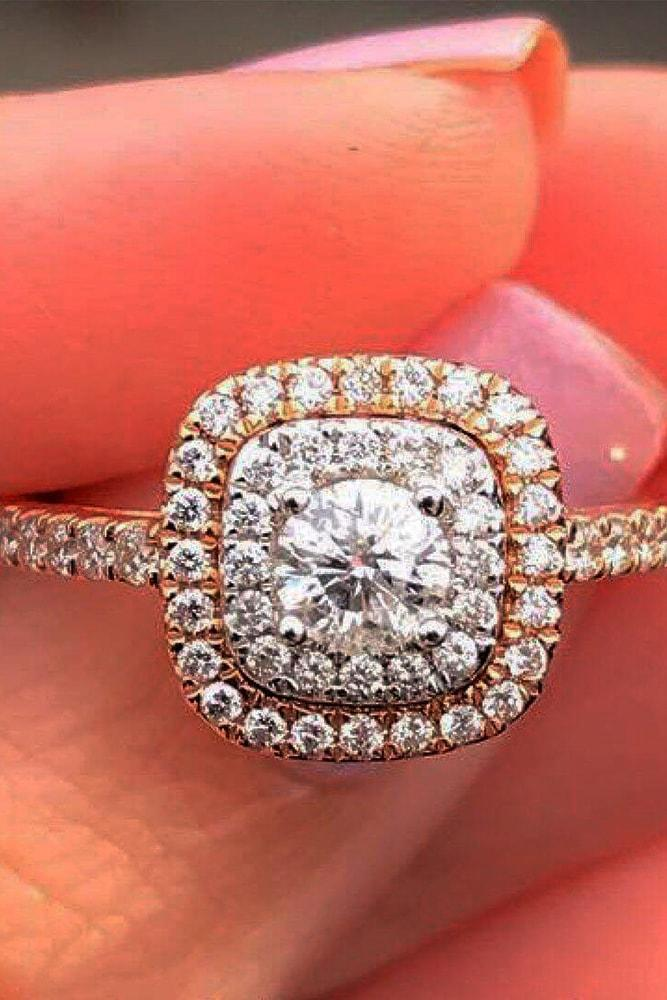 zales engagement rings rose gold round cut diamond double halo pave band with diamonds