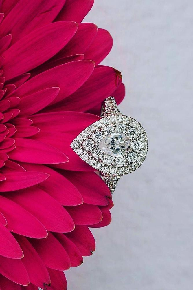 zales engagement rings white gold pear cut diamond double halo pave band sparkling