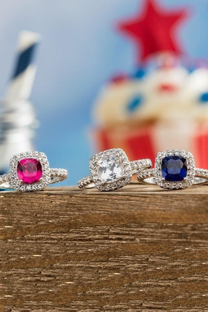 4 july proposal decoration perfect proposal ideas cushion cut blue red white gemstones halo white gold usa