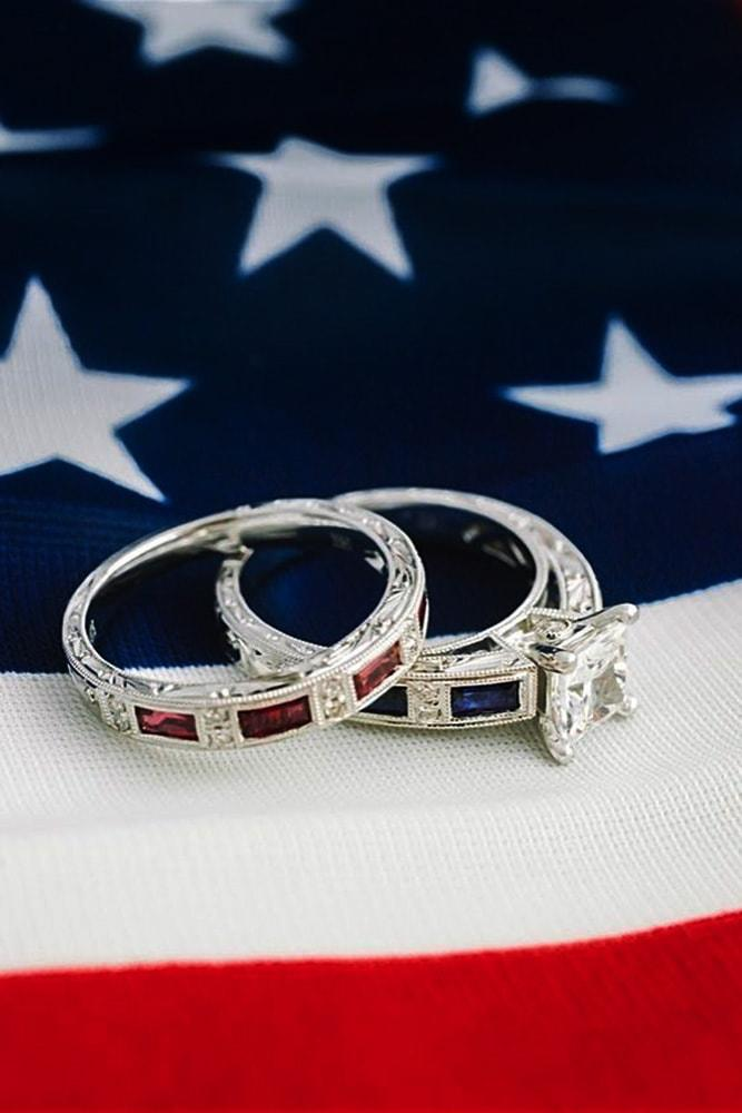 4 july proposal decoration perfect proposal ideas engagement rings on usa flag white gold princess cut diamond