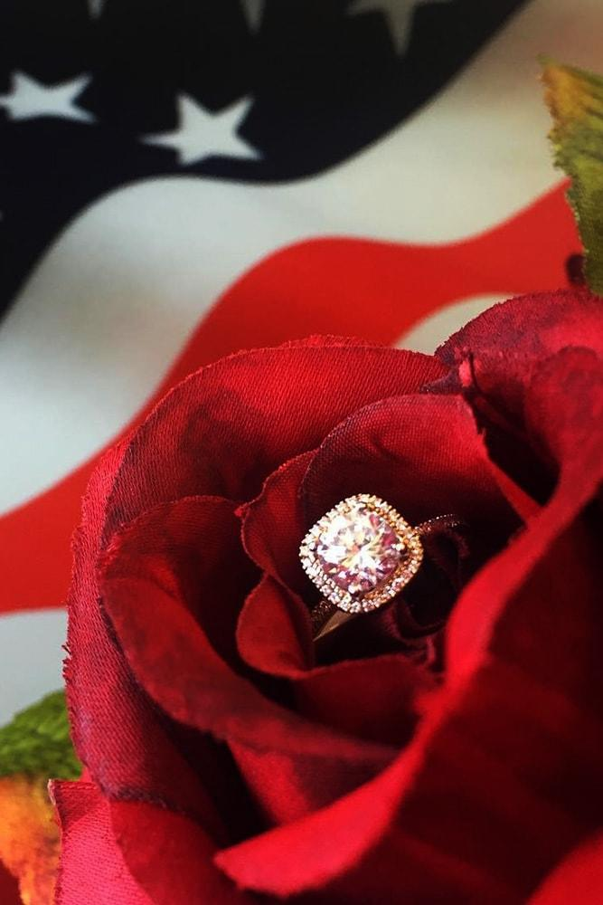 4 july proposal decoration perfect proposal independence day engagement ring on the rose white gold cushion cut diamond halo flag usa