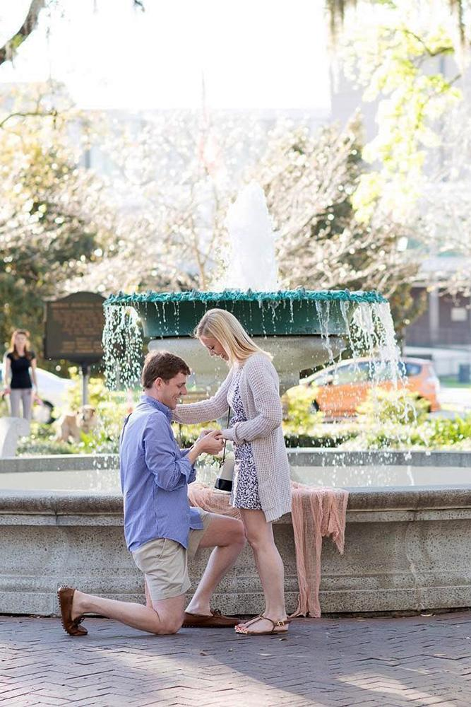 best proposals sweet proposals near fountains in spring