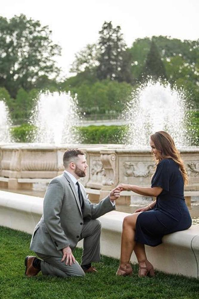 best proposals sweet proposals near fountains in summer