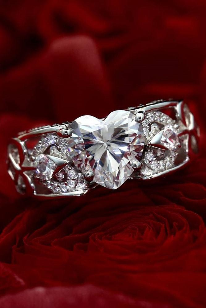 cubic zirconia engagement rings heart rings white gold engagement rings beautiful rings unique engagement rings