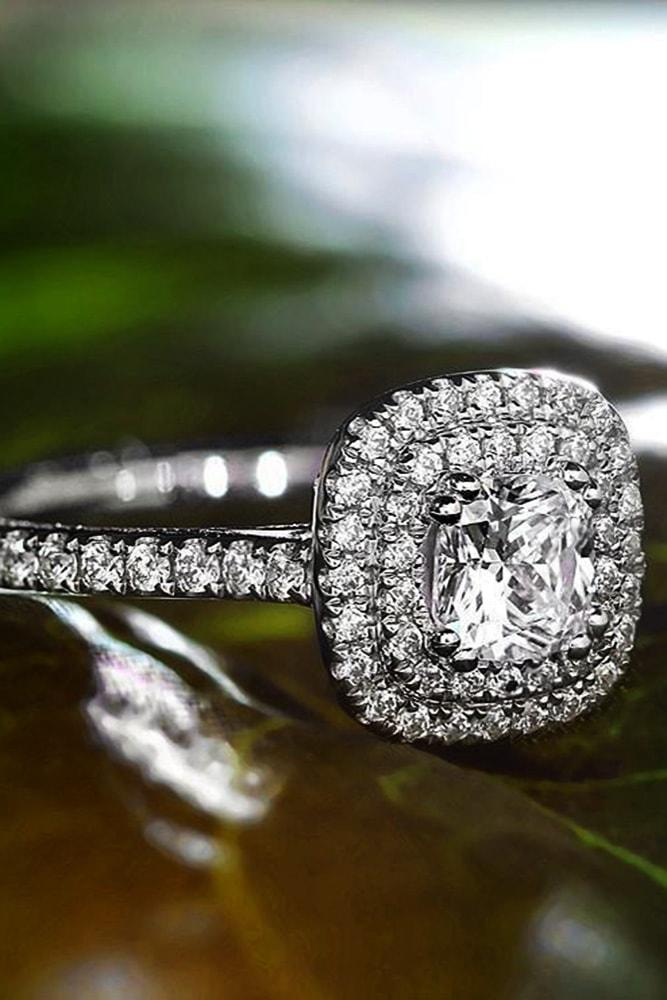 cushion cut engagement rings double halo pave band diamonds