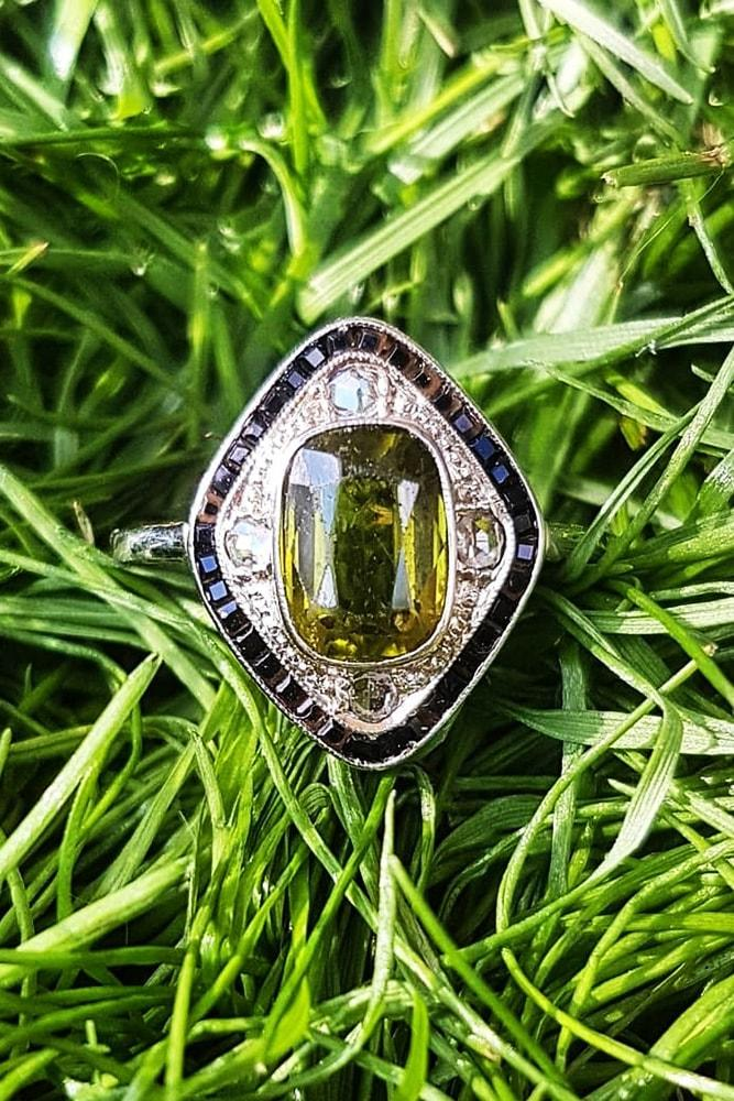 engagement rings styles art deco engagement ring white gold emerald cut yellow gemstone unique design