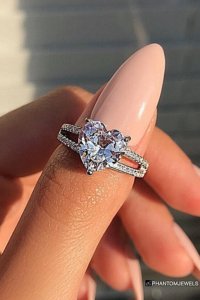 heart engagement rings best engagement rings silver engagement rings solitaire engagement rings simple engagement rings split shank