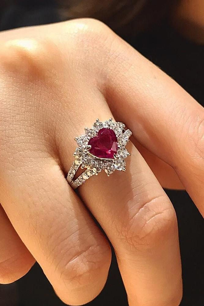 heart engagement rings white gold engagement rings ruby engagement ring halo engagement rings split shank