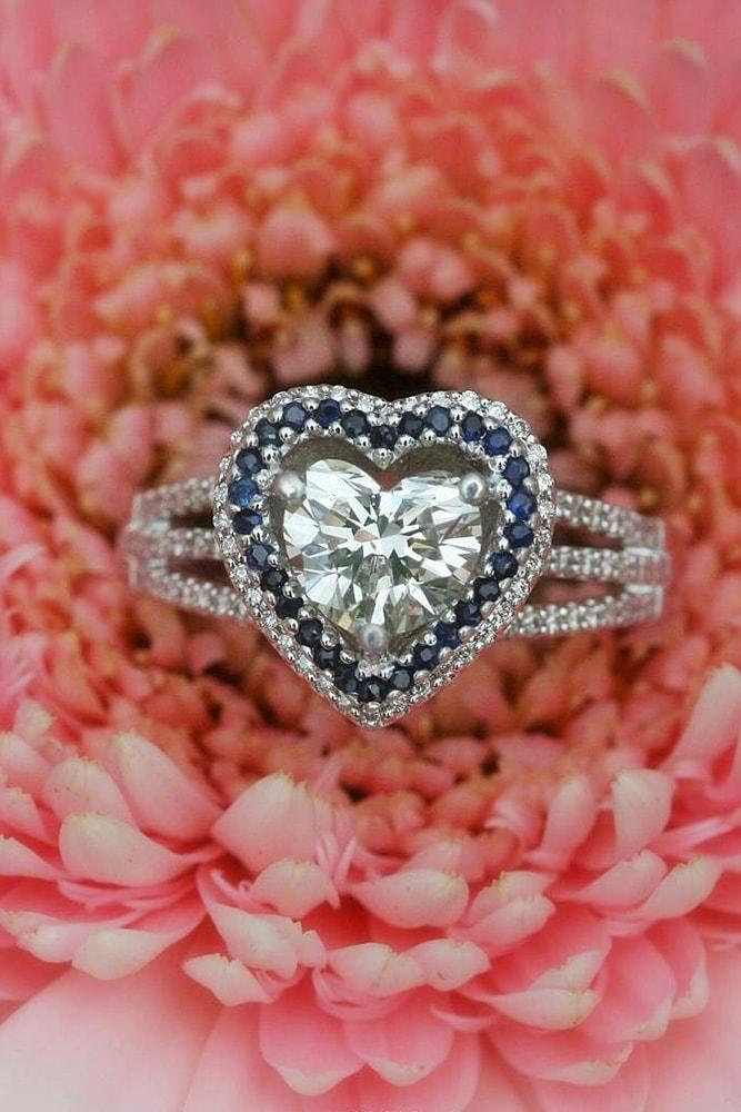 heart engagement rings white gold heart cut diamond and gemstone halo split shank