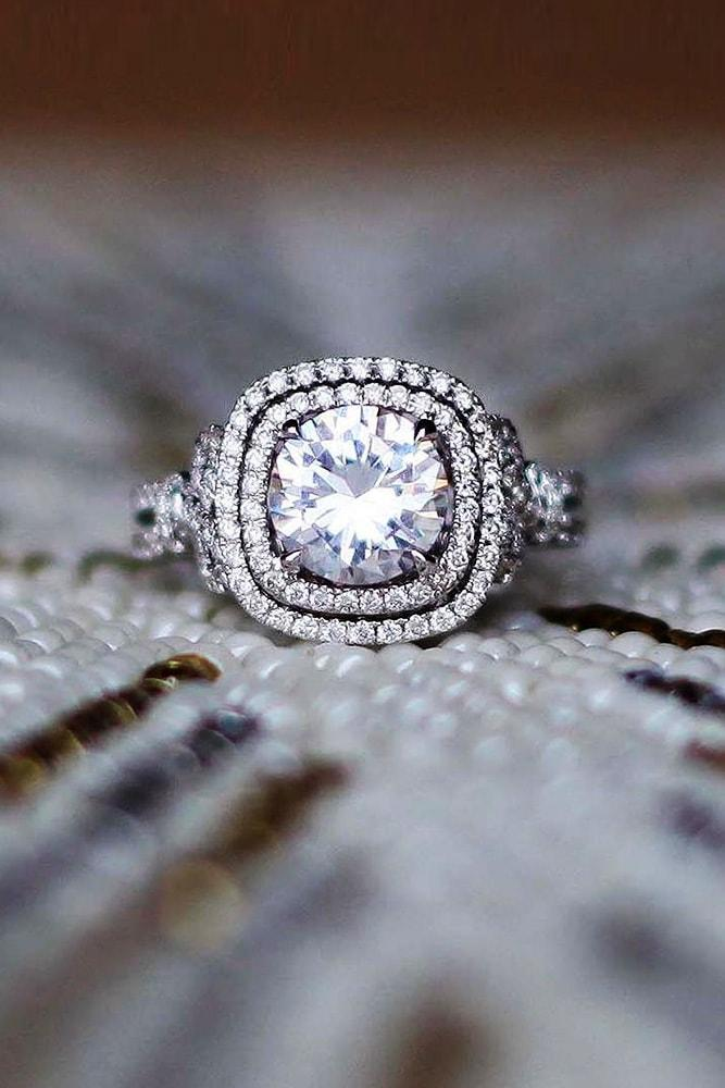 kirk kara engagement rings round cut diamond double halo engagement ring white gold pave band kirk kara min