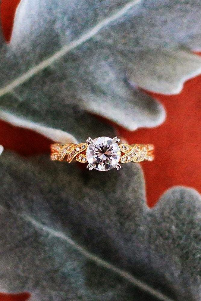kirk kara engagement rings round cut diamond engagement ring rose gold pave band kirk kara min
