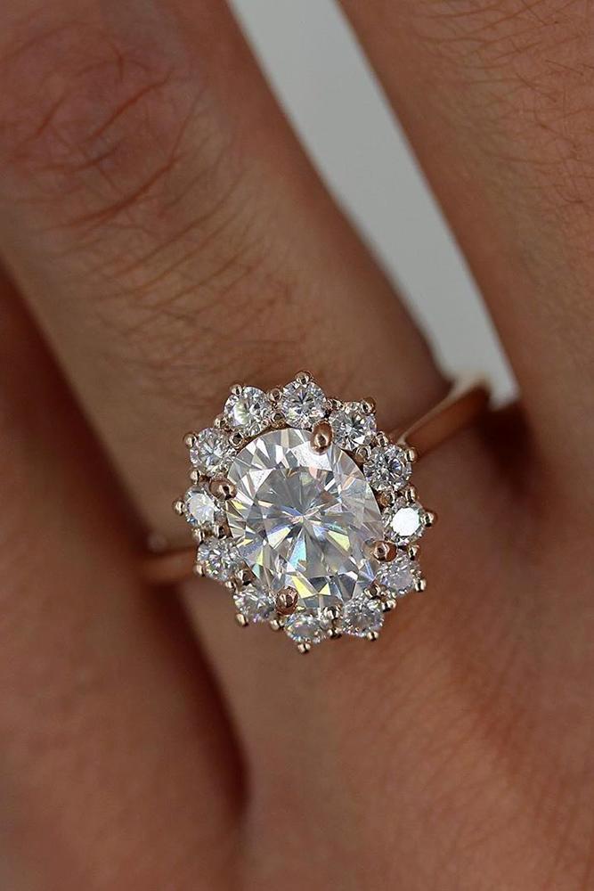 moissanite engagement rings rose gold engagement rings halo engagement rings floral rings