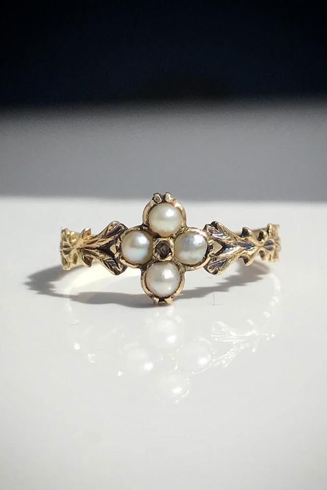 pearl engagement rings antique engagement rings rose gold engagement rings flower engagement rings