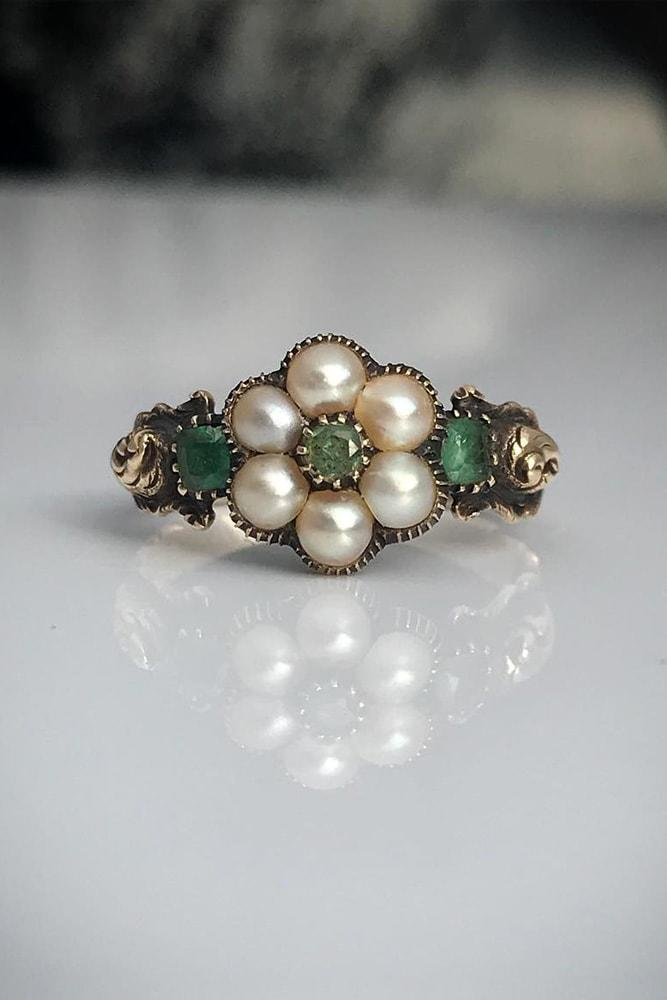 pearl engagement rings antique engagement rings rose gold engagement rings flower engagement rings gemstone engagement rings