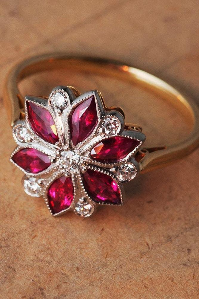 ring trends gemstone engagement rings rose gold marquise cut rubies floral elements