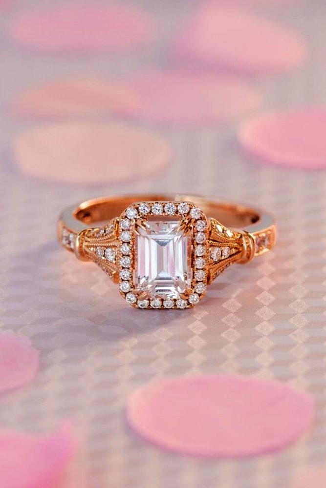 ring trends romantic rose gold emerald cut diamond halo vintage