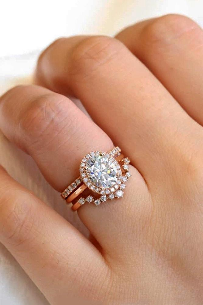 ring trends romantic rose gold oval cut diamond halo engagement ring set