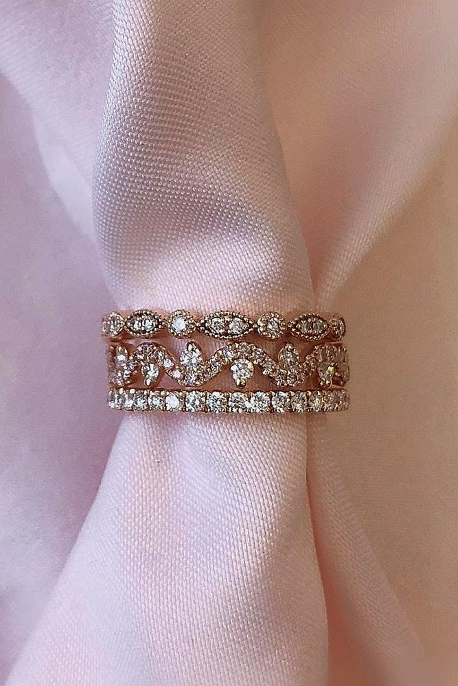 ring trends rose gold round cut and pear cut diamonds eternity band rings