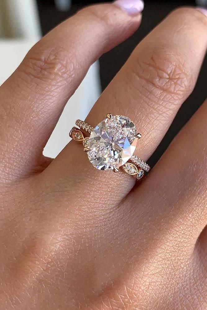 rose gold wedding rings bridal sets oval cut engagement rings diamond engagement rings