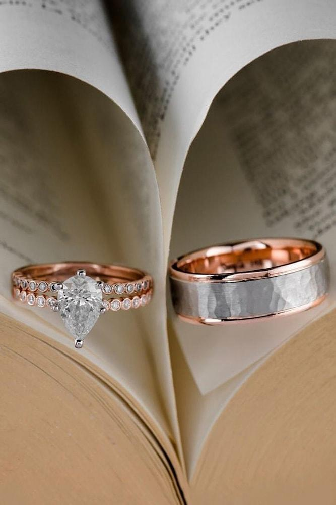 rose gold wedding rings pear shaped rings unique wedding rings flower engagement rings two tone rings