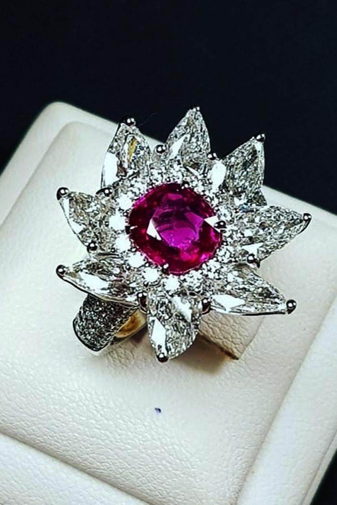 ruby engagement rings pear cut halo engagement rings white gold round cut ruby in centre floral elements