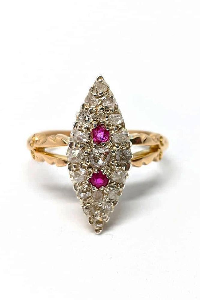 ruby engagement rings vintage engagement ring rose gold engagement ring split shank