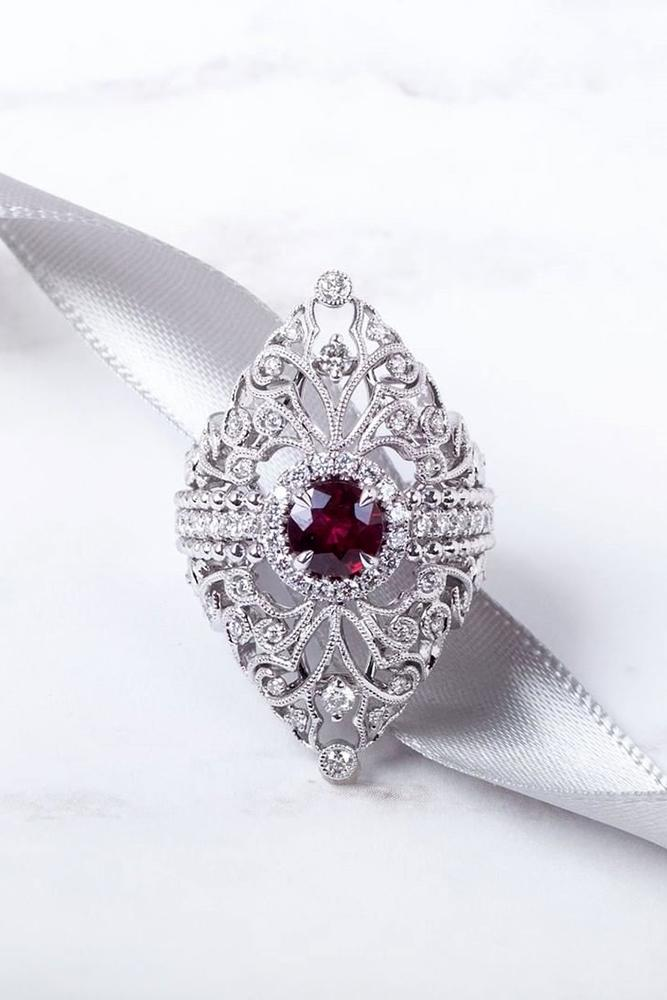 ruby engagement rings vintage engagement ring white gold engagement ring