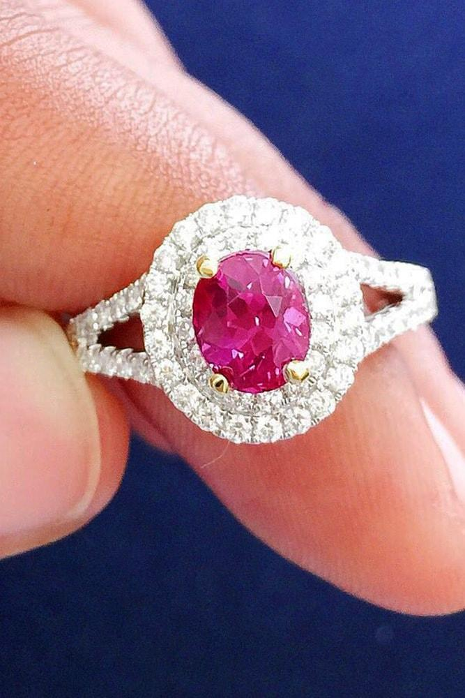 ruby engagement rings white gold oval cut ruby double halo split shank pave band