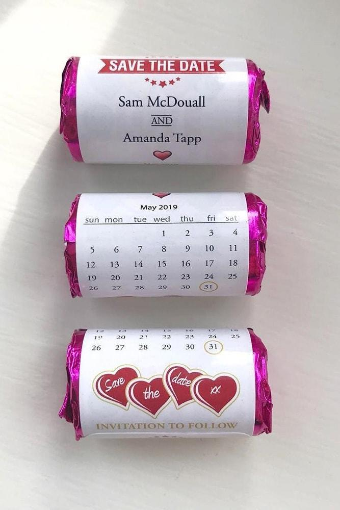 save the date ideas with sweets and candies personalised sweets
