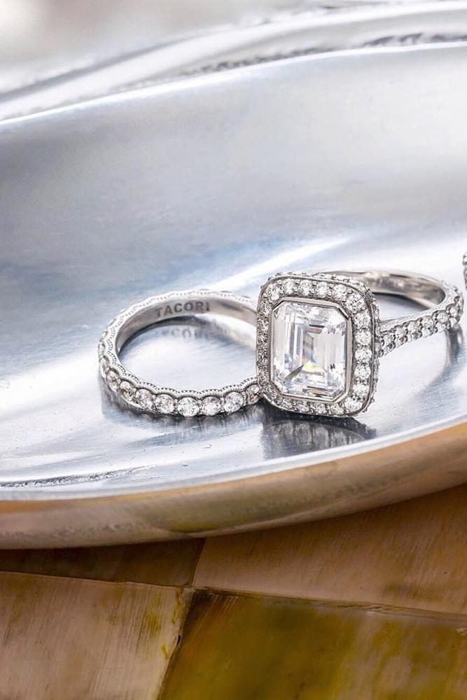 tacori engagement rings emerald cut diamond halo engagement ring in set white gold pave band