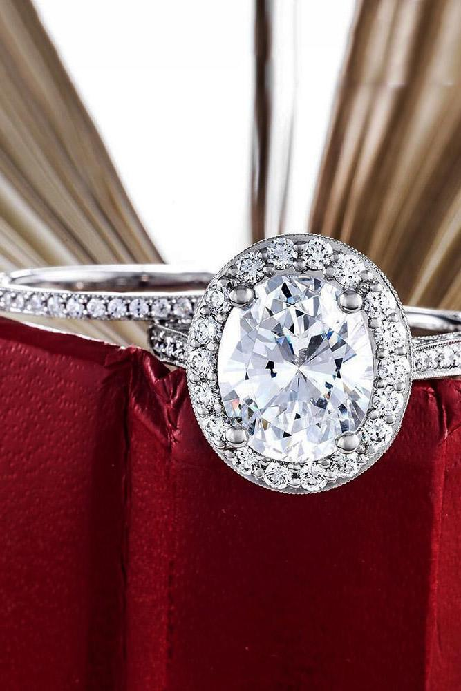 tacori engagement rings oval cut diamond halo engagement ring in set white gold pave band