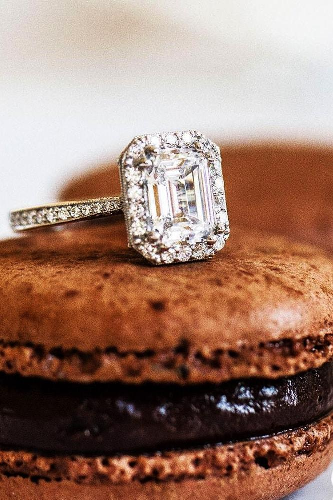 tacori engagement rings emerald cut diamond halo engagement ring rose gold pave band