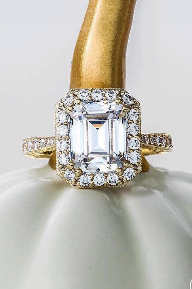 tacori engagement rings emerald cut diamond halo engagement rose gold pave band