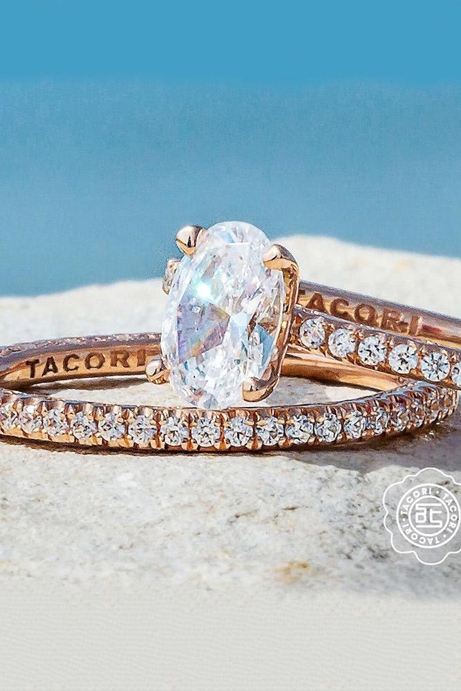 tacori engagement rings rose gold oval cut diamond solitaire engagement ring set pave band