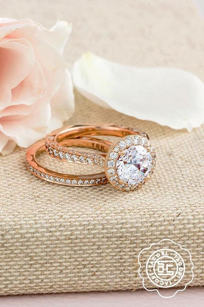 tacori engagement rings rose gold round cut diamond halo engagement ring set pave band