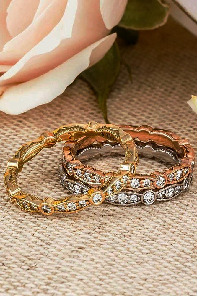 tacori engagement rings stackable eternal rings mixed metals rose gold yellow gold pave band