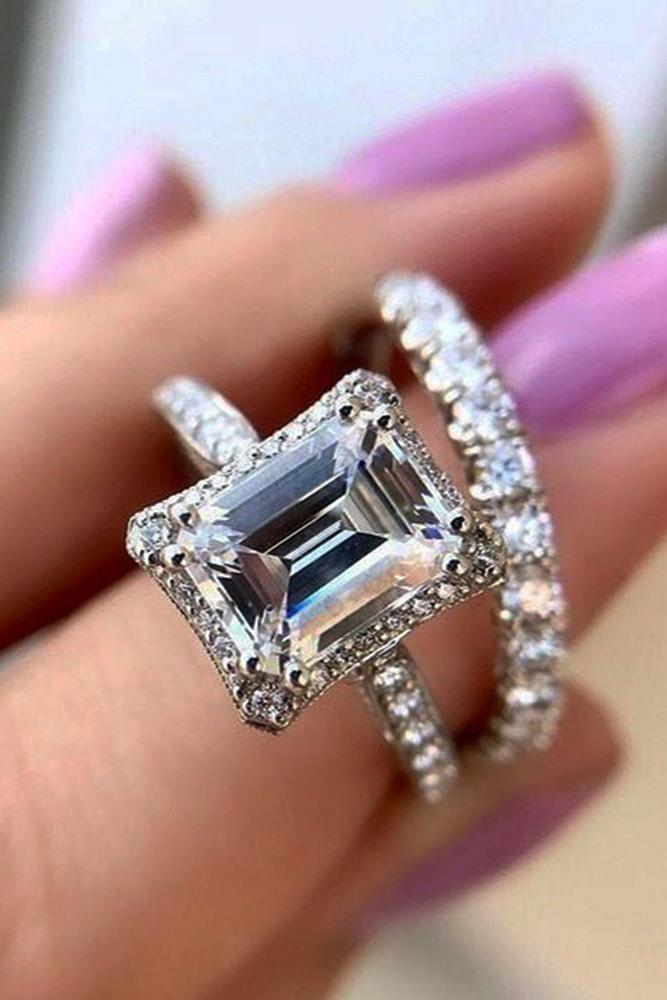 tacori engagement rings white gold emerald cut diamond halo engagement ring set pave band