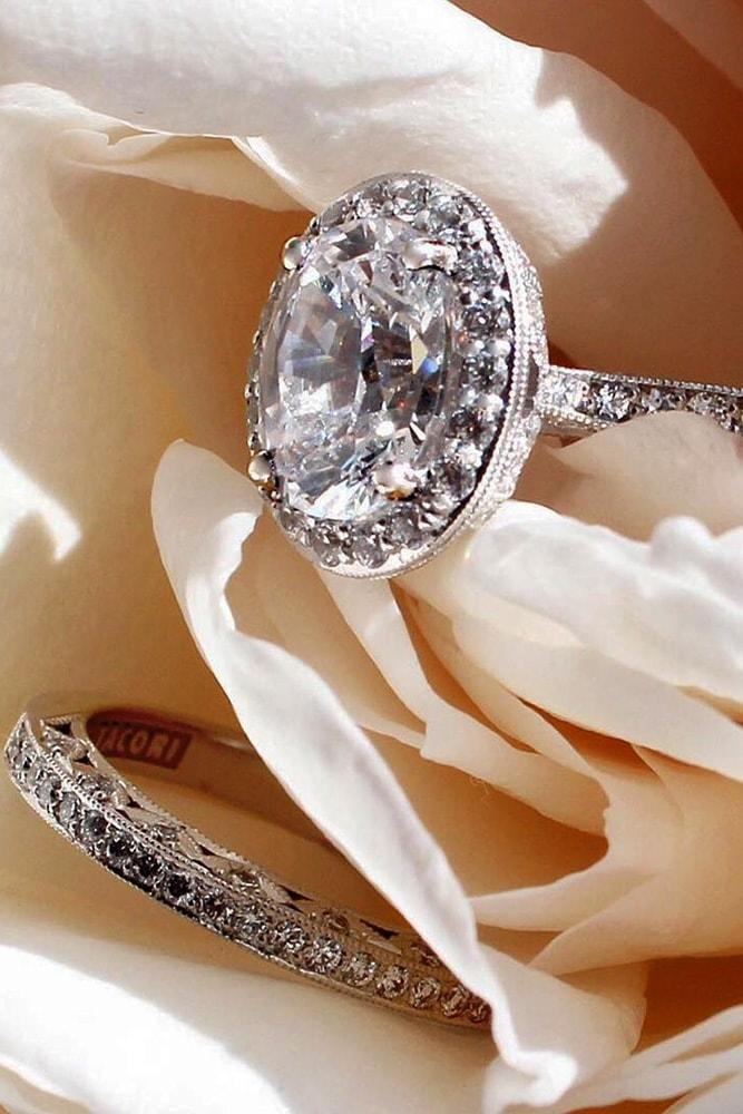 tacori engagement rings white gold round cut diamond halo engagement ring set pave band
