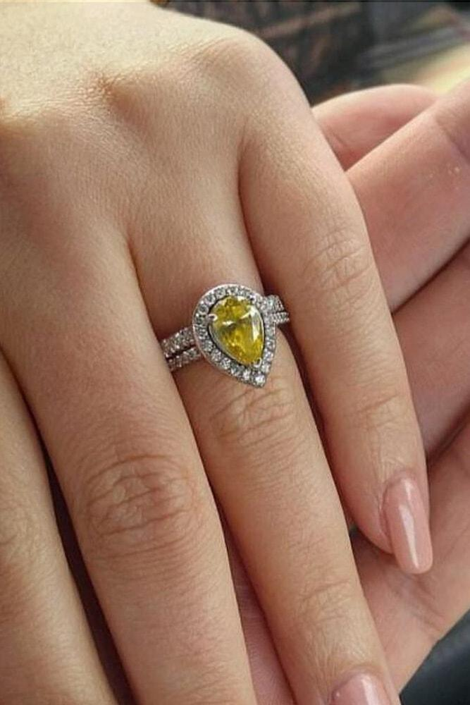 tacori engagement rings yellow pear cut canary diamond white gold double pave band