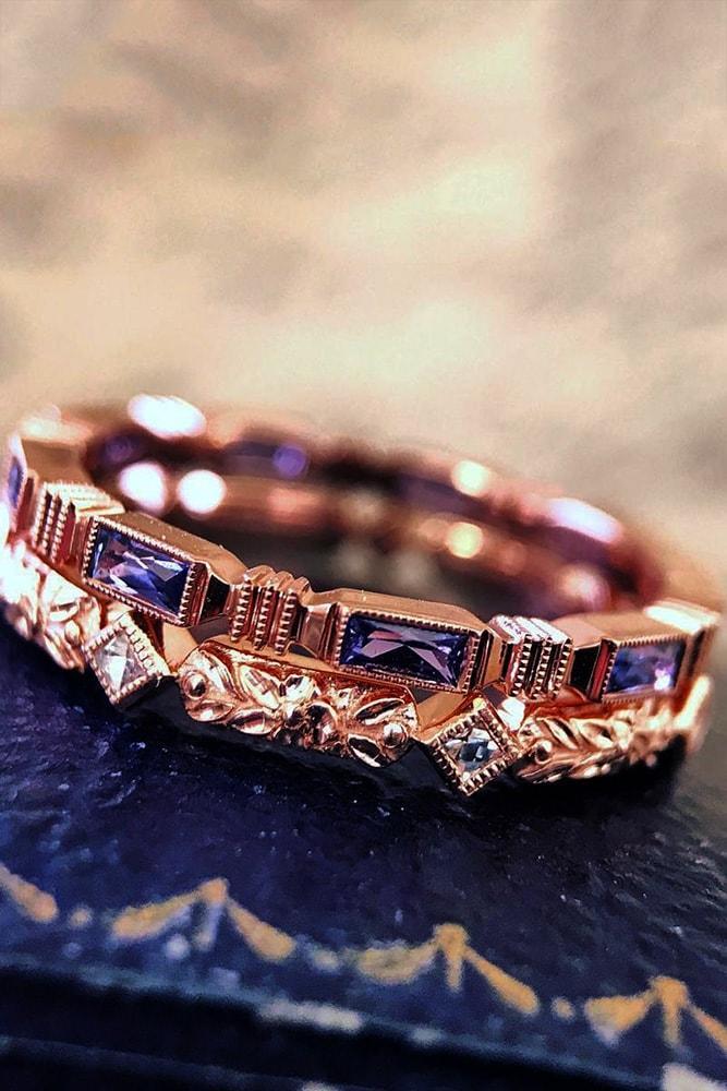 vintage wedding bands vintage bands with sapphires rose gold ring sets unique
