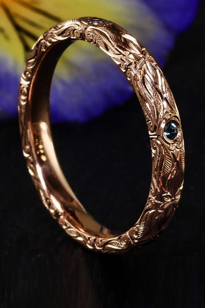 vintage wedding bands vintage bands with sapphires rose gold unique floral elements