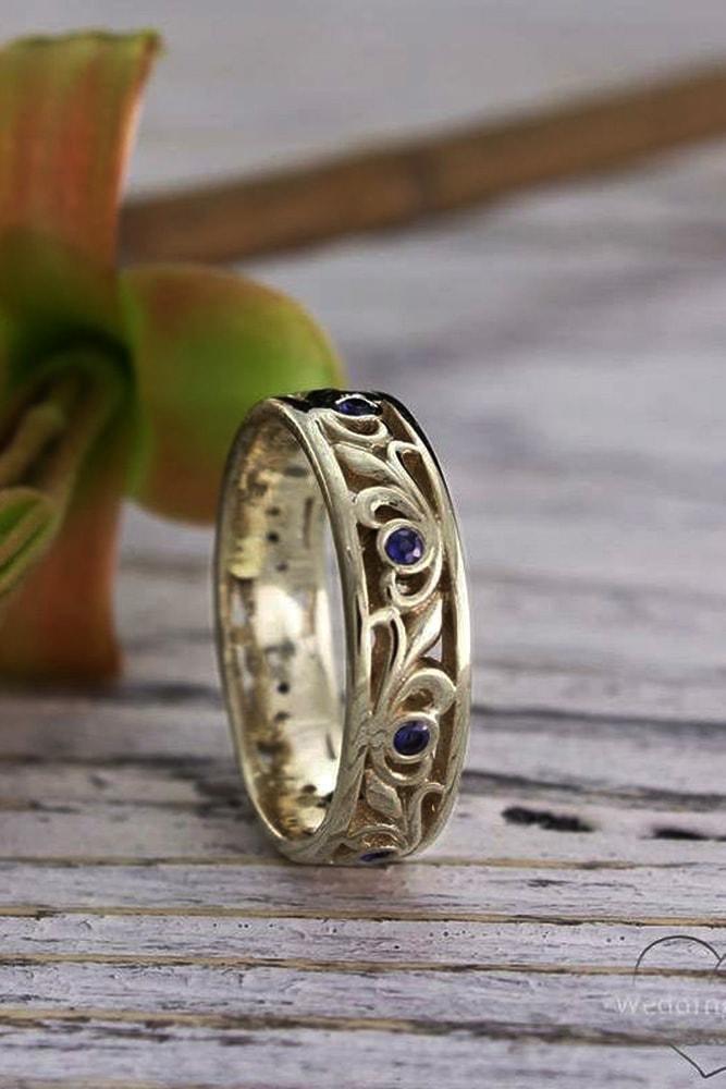 vintage wedding bands vintage bands with sapphires yellow gold floral elements unique