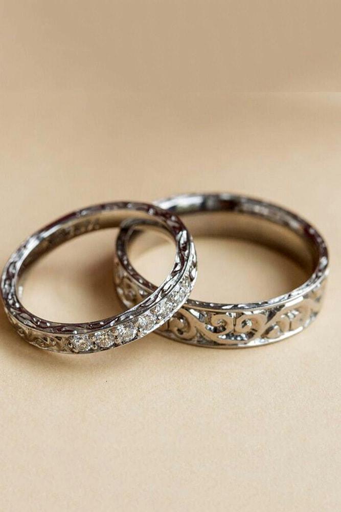 vintage wedding bands vintage wedding bands for perfect couple white gold floral elements and diamonds unique design