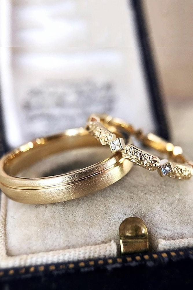 vintage wedding bands vintage wedding bands for perfect couple yellow gold floral elements unique