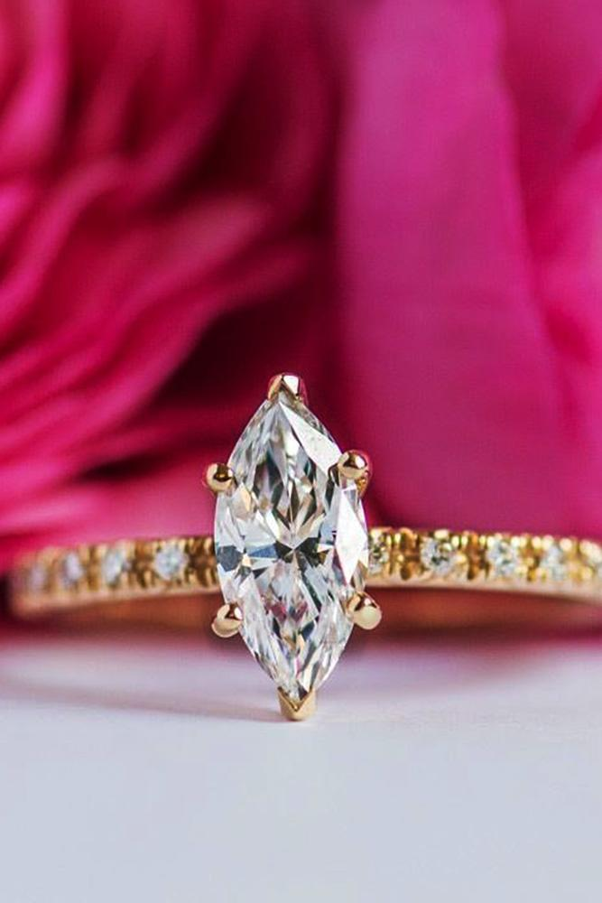 yellow gold engagement rings simple engagement rings in yellow gold marquise cut diamond pave band with diamonds