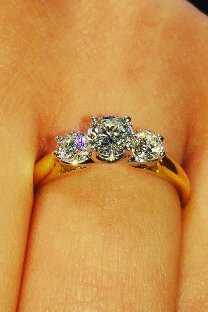 yellow gold engagement rings three stones engagement ring three round cut diamonds simple pave band classic