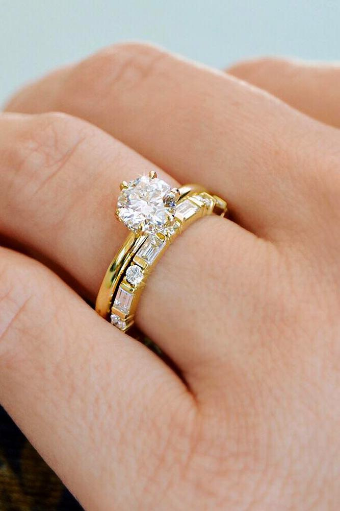 yellow gold engagement rings wedding ring sets in yellow gold round cut diamond solitaire simple